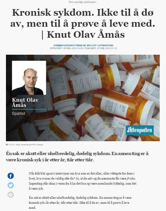 Skjermbilde fra Aftenposten, 29.02.2016