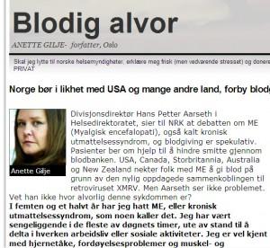 Skjermbilde fra Anette Giljes kronikk i Aftenposten