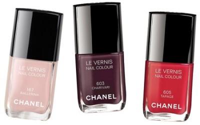 Vårens neglelakk fra Chanel: Ballerina (# 167), Charivari (#603)  og Tapage (#605)