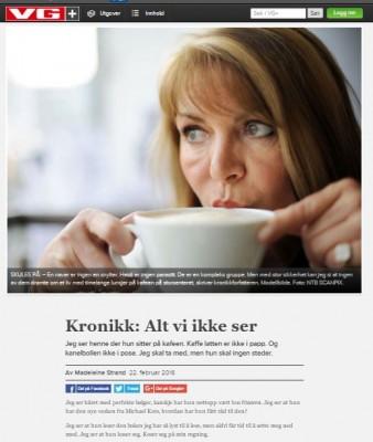 """""""Alt vi ikke ser"""", kronikk av Madeleine Strand i VG"""